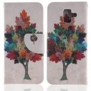 Δερμάτινη Θήκη Πορτοφόλι με Βάση Στήριξης για Samsung Galaxy A6 (2018) - Πολύχρωμο Δέντρο