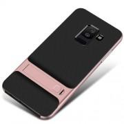 ELEGANCE Υβριδική Θήκη Σιλικόνης TPU σε Συνδυαμό με Πλαστικό και με Βάση Στήριξης για Samsung Galaxy A6 (2018) - Ροζέ χρυσαφί