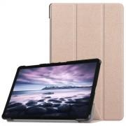 Δερμάτινη Θήκη Βιβλίο Tri-Fold Smart Cover με Βάση Στήριξης για Samsung Galaxy Tab A 10.5 (2018) T590 T595 - Ροζέ Χρυσαφί