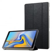 Silk Texture Tri-fold Stand Smart Leather Case for Samsung Galaxy Tab A 10.5 (2018) T590 T595 - Black