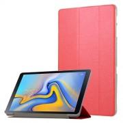 Δερμάτινη Θήκη Βιβλίο Tri-Fold με Βάση Στήριξης με Διάφανη Πλάτη για Samsung Galaxy Tab A 10.5 (2018) T590 T595 - Κόκκινο