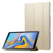 Silk Texture PU Leather Shell Tri-fold Stand Auto Sleep/Wake Tablet Case for Samsung Galaxy Tab A 10.5 (2018) T590 T595 - Gold