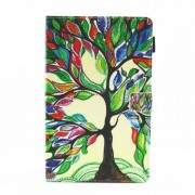 Pattern Printing Multi-angle Stand Card Slots Leather Casing for Samsung Galaxy Tab A2 T590 / T595 - Colorized Tree