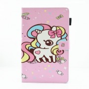 Pattern Printing Multi-angle Stand Card Holder Leather Case for Samsung Galaxy Tab A2 T590 / T595 - Unicron and Candy