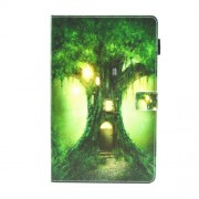 Pattern Printing Multi-angle Stand Card Slots Flip PU Leather Shell for Samsung Galaxy Tab A2 T590 / T595 - Fantasy Tree House