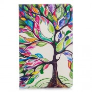 Pattern Printing Leather Wallet Cover with Stand for Samsung Galaxy Tab A 10.5 (2018) T590 T595 - Colorized Tree