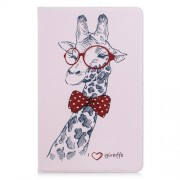 Pattern Printing Leather Tablet Case Shell with [Wallet Stand] for Samsung Galaxy Tab A 10.5 (2018) T590 T595 - Adorable Giraffe Wearing Glasses
