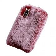 Μαλακή Γούνινη Θήκη Πλάτης με Στρας για iPhone Xs Max - Κόκκινο του Κρασιού