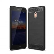 Carbon Fiber Texture Brushed TPU Mobile Shell Case for Nokia 2.1 - Black