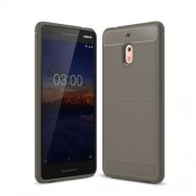 Carbon Fiber Texture Brushed TPU Protection Case for Nokia 2.1 - Grey
