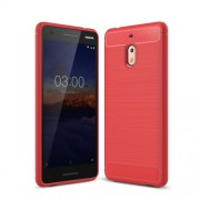 Carbon Fiber Texture Brushed TPU Cell Phone Cover for Nokia 2.1 - Red