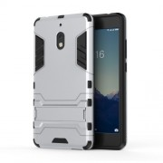 Cool Guard Plastic TPU Hybrid Phone Back Case Accessory with Kickstand for Nokia 2.1 - Silver