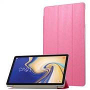 Δερμάτινη Θήκη Βιβλίο Tri-Fold με Βάση Στήριξης με Διάφανη Πλάτη για Samsung Galaxy Tab S4 10.5 T830/T835 - Φούξια