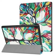 For Lenovo Tab 4 10 10.1-inch Patterned Tri-fold Leather Stand Case Cover - Colored Tree