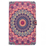 Patterned Leather Wallet Stand Cover for Samsung Tab A 10.1 (2016) T580 T585 - Orange and Black Bohemia Pattern