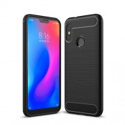 Carbon Fiber Texture Brushed TPU Mobile Phone Casing for Xiaomi Mi A2 Lite / Redmi 6 Pro - Black