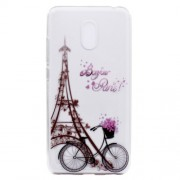 For Meizu M6 Soft TPU Ultra Patterned Ultra-thin Cellphone Casing - Tower and Bicycle