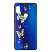 Θήκη Σιλικόνης TPU για Xiaomi Note 5 - Μπλε Πεταλούδες με Χρυσαφένιες Πινελιές