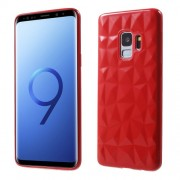 3D Diamond Texture TPU Case for Samsung Galaxy S9 SM-G960 - Red