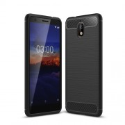 Carbon Fiber Texture Brushed TPU Case for Nokia 3.1 - Black
