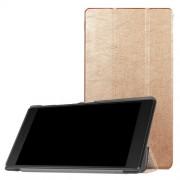 Δερμάτινη Θήκη Βιβλίο Tri-Fold με Βάση Στήριξης για Lenovo Tab 7 Essential (2017) / Tab 4 7 - Χρυσαφί