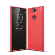 Carbon Fiber Texture Brushed TPU Mobile Phone Shell for Sony Xperia XA2 Plus - Red