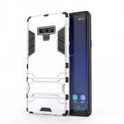 Cool Guard Plastic + TPU Hybrid Phone Cover with Kickstand for Samsung Galaxy Note 9 - Silver