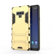 Cool Guard Plastic + TPU Hybrid Cellphone Case with Kickstand for Samsung Galaxy Note 9 - Gold