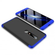 GKK 360 μοιρών Σκληρή Θήκη Ματ με Βελούδινη Υφή Πρόσοψης και Πλάτης για Nokia 6.1 (5.5-inch) - Μαύρο / Μπλε