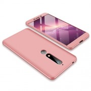 GKK 360 μοιρών Σκληρή Θήκη Ματ με Βελούδινη Υφή Πρόσοψης και Πλάτης για Nokia 6.1 (5.5-inch) - Ροζέ Χρυσαφί