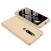 GKK 360 μοιρών Σκληρή Θήκη Ματ με Βελούδινη Υφή Πρόσοψης και Πλάτης για Nokia 6.1 (5.5-inch) - Χρυσαφί