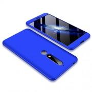 GKK 360 μοιρών Σκληρή Θήκη Ματ με Βελούδινη Υφή Πρόσοψης και Πλάτης για Nokia 6.1 (5.5-inch) - Μπλε