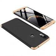 GKK 360 μοιρών Σκληρή Θήκη Ματ με Βελούδινη Υφή Πρόσοψης και Πλάτης για Xiaomi Redmi S2 / Redmi Y2 - Μαύρο / Χρυσαφί