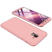 GKK 360 μοιρών Σκληρή Θήκη Ματ με Βελούδινη Υφή Πρόσοψης και Πλάτης για Samsung Galaxy J6 (2018) - Ροζέ Χρυσαφί
