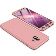 GKK 360 μοιρών Σκληρή Θήκη Ματ με Βελούδινη Υφή Πρόσοψης και Πλάτης για Samsung Galaxy J4 (2018) - Ροζέ Χρυσαφί
