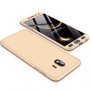 GKK 360 μοιρών Σκληρή Θήκη Ματ με Βελούδινη Υφή Πρόσοψης και Πλάτης για Samsung Galaxy J4 (2018) - Χρυσαφί