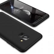 GKK 360 μοιρών Σκληρή Θήκη Ματ με Βελούδινη Υφή Πρόσοψης και Πλάτης για Samsung Galaxy A8 (2018) - Μαύρο
