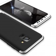 GKK 360 μοιρών Σκληρή Θήκη Ματ με Βελούδινη Υφή Πρόσοψης και Πλάτης για Samsung Galaxy A8 (2018) - Μαύρο / Ασημί