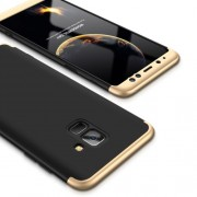 GKK 360 μοιρών Σκληρή Θήκη Ματ με Βελούδινη Υφή Πρόσοψης και Πλάτης για Samsung Galaxy A8 (2018) - Μαύρο / Χρυσαφί