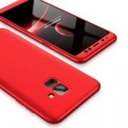 GKK 360 μοιρών Σκληρή Θήκη Ματ με Βελούδινη Υφή Πρόσοψης και Πλάτης για Samsung Galaxy A8 (2018) - Κόκκινο