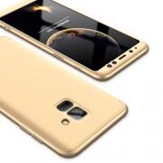 GKK 360 μοιρών Σκληρή Θήκη Ματ με Βελούδινη Υφή Πρόσοψης και Πλάτης για Samsung Galaxy A8 (2018) - Χρυσαφί