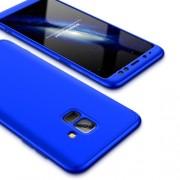 GKK 360 μοιρών Σκληρή Θήκη Ματ με Βελούδινη Υφή Πρόσοψης και Πλάτης για Samsung Galaxy A8 (2018) - Μπλε