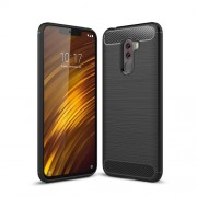 Carbon Fiber Texture Brushed TPU Back Casing for Xiaomi Pocophone F1 / Poco F1 (India) - Black