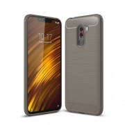 Carbon Fiber Texture Brushed TPU Cell Phone Shell for Xiaomi Pocophone F1 / Poco F1 (India) - Grey