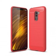 Carbon Fiber Texture Brushed TPU Protection Cell Phone Cover Case for Xiaomi Pocophone F1 / Poco F1 (India) - Red