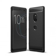 Carbon Fiber Texture Brushed TPU Mobile Phone Casing for Sony Xperia XZ3 - Black