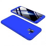 GKK 360 μοιρών Σκληρή Θήκη Ματ με Βελούδινη Υφή Πρόσοψης και Πλάτης για Samsung Galaxy A6 (2018) - Μπλε