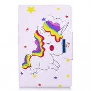 Pattern Printing Smart Leather Stand Shell Case for Samsung Galaxy Tab E 9.6 T560 - Shy Unicorn