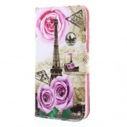 Δερμάτινη Θήκη Πορτοφόλι με Βάση Στήριξης για Samsung Galaxy A5 (2017) - Τριαντάφυλλα και Πύργος του Άιφελ