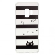 Pattern Printing Lightweight TPU Case for Samsung Galaxy S9 SM-G960 - Stripes and Cat